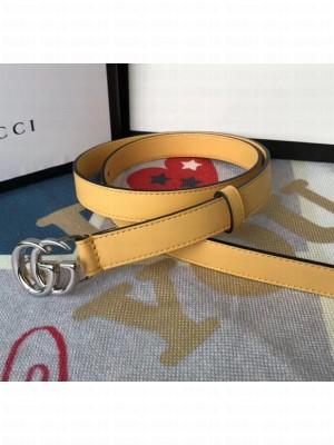 Gucci Calfskin Belt 25mm with GG Buckle Yellow/Silver 2020 Collection