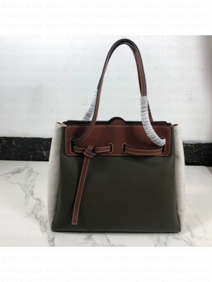 Loewe Lazo Shopping Top Handle Bag in Calfskin and Linen Green/Grey 2019 Collection