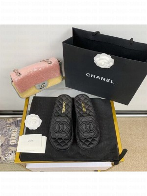 Chanel Quilted Slide On Mule Sandals Lambskin Leather Spring/Summer 2021 Collection,  Black