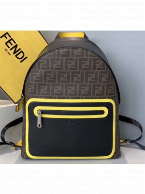 Fendi FF Logo Fabric Large Lackpack Bag with Front Pocket Brown/Yellow Piping 2019