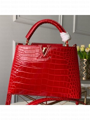 Louis Vuitton Capucines BB Crocodile Leather Top Handle Bag N92174 Cerise Red 2019 Collection