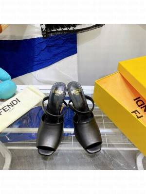 FENDI FIRST Black leather high-heeled sandals 2021 Collection