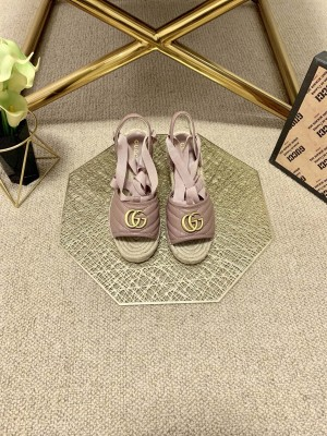 Gucci GG Lambskin Wedge Sandals pink 2021 Collection