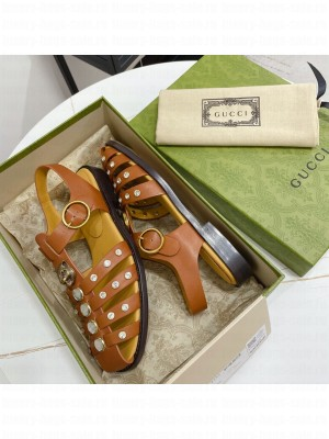 GUCCI Crystal Stud Flat Sandals Brown 2021 Collection