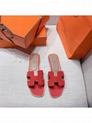 Hermes Oran Flat slippers with Lizard pattern Red 072 2021 Collection