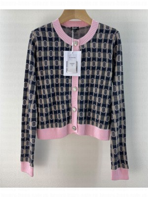 Chanel Women's Contrast Check Cardigan Pink