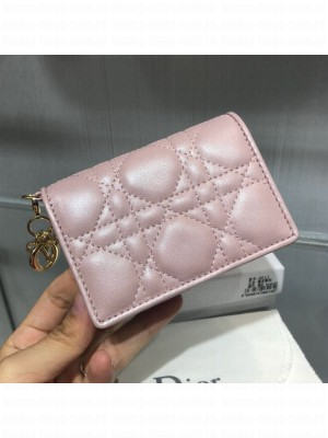 Dior Lady Cannage Lambskin Card Holder Wallet Pearl Pink 2019 Collection