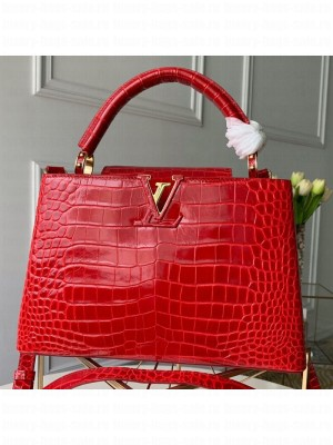 Louis Vuitton Capucines PM Crocodile Leather Top Handle Bag N92965 Cerise Red 2019 Collection