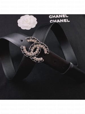 Chanel Smooth Calfskin Belt 3cm with Chain Leather CC Buckle Black  2021 Collection
