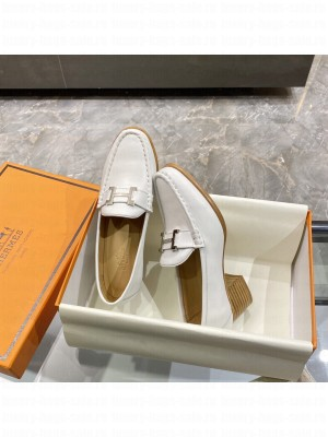 """Hermes High heel loafer signature """"H"""" White 2021 Collection"""