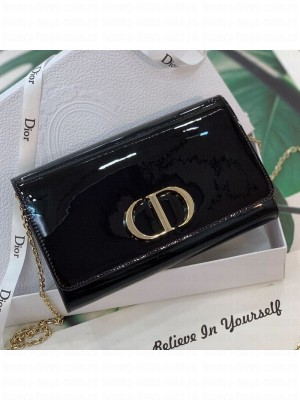 Dior 30 Montaigne CD Patent Calfskin Wallet on Chain WOC Black 2019 Collection