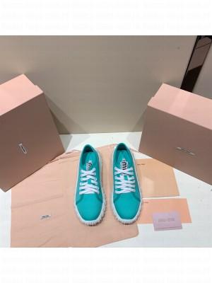 MIU MIU COTTON GABARDINE SNEAKERS with Upper with logo tape Green
