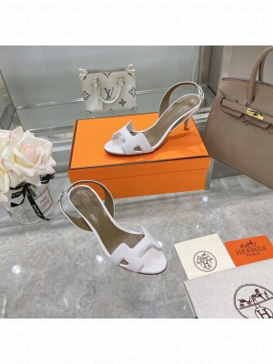 Hermes Leather Heeled Sandals 7cm White 2021 Collection