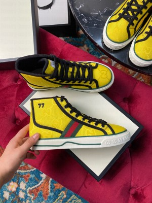 Gucci Unisex Tennis 1977 GG Multicolor high-top Sneaker Yellow 2021 Collection