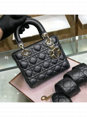 Dior Small Lady Dior Bag in Grained Calfskin Black  2021 Collection