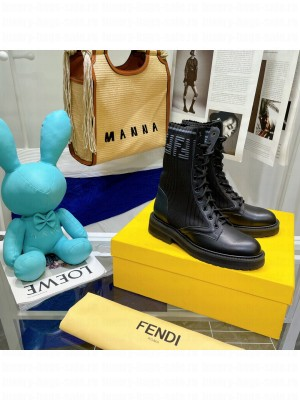Fendi Rockoko combat boots with stretch fabric inserts 020 2021 Collection