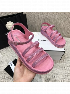 Chanel Suede Diamond Flat Embroidered Logo Sandals Pink 2021 Collection