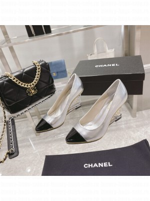 Chanel Women's Silver Crystal heel Wedge Pumps 2021 Collection