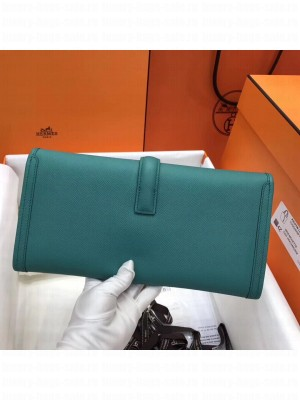 Hermes Jige Elan 29 Epsom Leather Clutch Bag Turquoise 2019 Collection