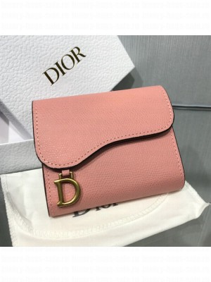 Dior Saddle Grained Calfskin Mini Flap Wallet Pink 2019 Collection
