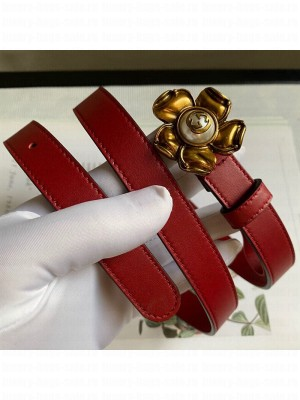 Gucci Calfskin Belt 20mm with Flower Buckle Red 2020 Collection