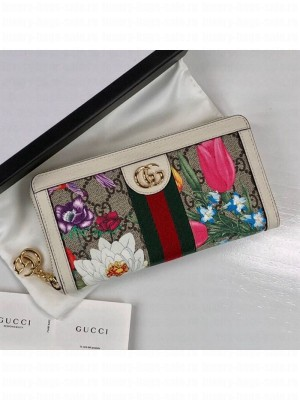 Gucci Ophidia GG Flora Zip Around Wallet 523154 White 2019 Collection