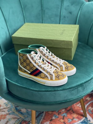 Gucci Unisex Tennis 1977 GG Multicolor high-top Yellow Sneaker 2021 Collection