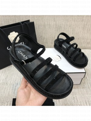 Chanel Suede Diamond Flat Embroidered Logo Sandals Black 2021 Collection