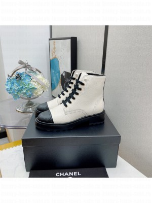 Chanel Women's Combat Boots White 02 2021 Collection