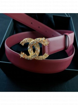 Chanel Calfskin Belt 3cm with Star CC Buckle Burgundy  2021 Collection