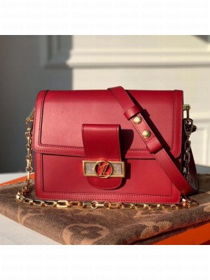 Louis Vuitton Dauphine MM Smooth Leather Shoulder Bag M55735 Burgundy 2020 Collection