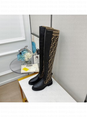 FENDI ROCKOKO Black leather Over-the-Knee Boots with Coffee stretch fabric 01 2021 Collection