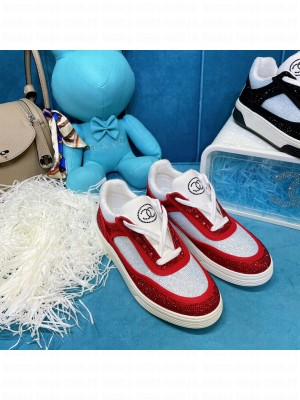 Chanel Diamond Sneakers Red 2021 Collection