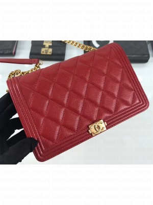 Chanel Caviar Leather Boy Wallet On Chain WOC Bag A81969 Red 2019