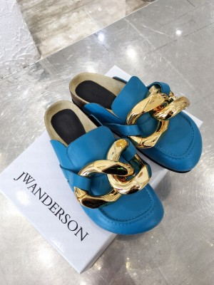 JW Anderson WOMEN'S CHAIN LOAFER MULES BLUE