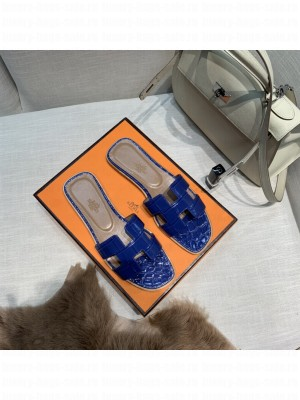 Hermes Oran Flat slippers with Stone pattern Blue 074 2021 Collection