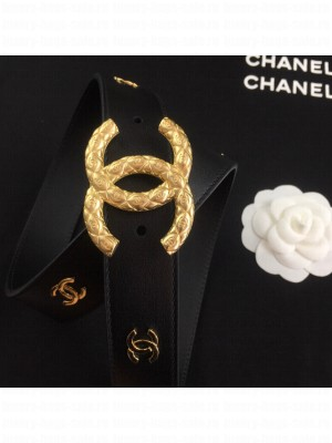 Chanel Calfskin Belt 3cm with Metallic CC Buckle Black/Gold  2021 Collection