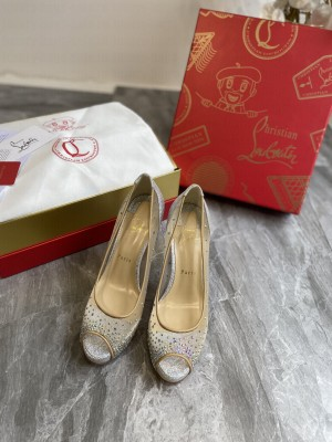 Christian Louboutin Grained Leather Crystal Mesh 10cm Peep-toe Platform 02 2021 Collection