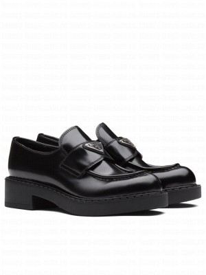 Prada Women's Monolith Brushed Leather Pointed Loafers Black