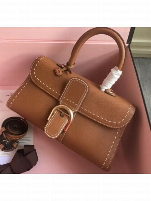 Delvaux Brillant East/West Mini Tote Bag In Togo Leather Large Brown