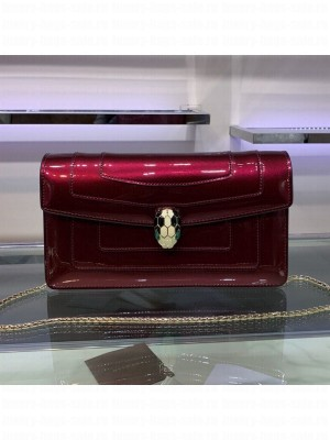 Bvlgari Serpenti Forever Patent Leather Chain Shoulder Bag 25cm Burgundy 2019 Collection
