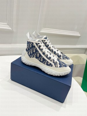 Chrisian Dior Unisex B28 HIGH-TOP SNEAKER Blue Dior Oblique Jacquard and White Rubber 2021 Collection