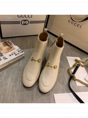 Gucci Jordaan Ankle Boots Calfskin Leather Fall/Winter 2020 Collection, White