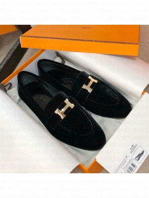Hermes Paris Suede Flat Loafers Black 2020 Collection