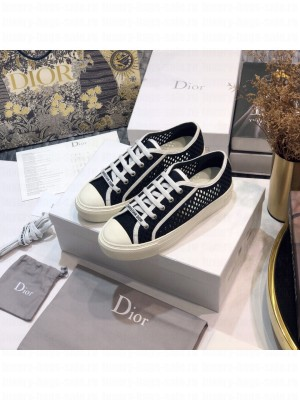 DIOR Unisex WALK'N'DIOR SNEAKER Hollow Black Embroidered Cotton  2021 Collection