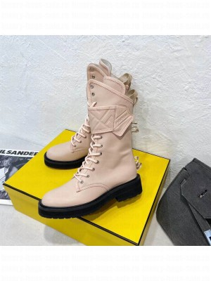 Fendi light pink Calfskin Lack-up ankle boots 2021 Collection