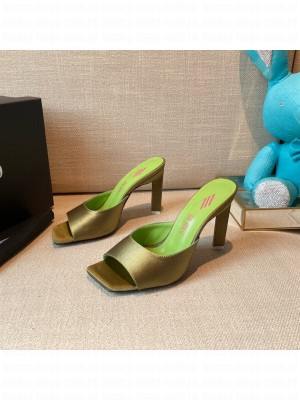 """The Attico """"Devon"""" Olive green Silk mule with pyramid heel, height 115mm Spring/Summer 2021 Collection"""
