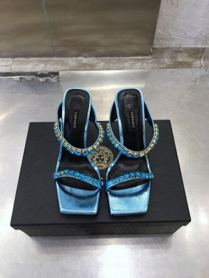 Versace mule 10.5cm with crystal blue 2021 Collection