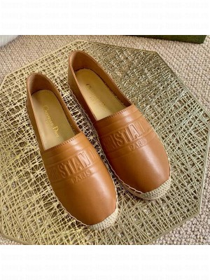 Dior Granville Espadrilles in Tan Brown Embossed Lambskin Spring/Summer 2021 Collection