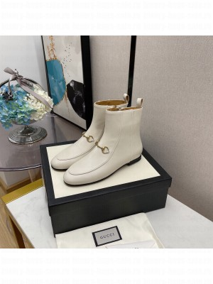 Gucci Women's White GG Horsebit  Ankle Boot 2021 Collection